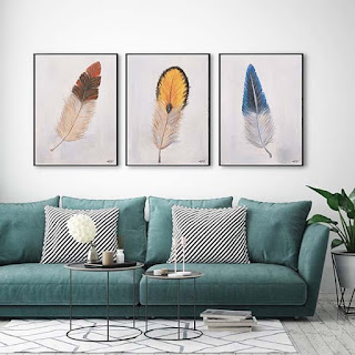3 Panel Feather Painting Wall Art