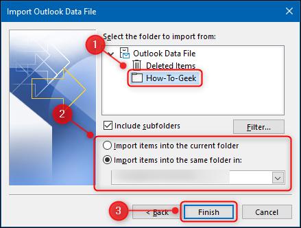 موقع Outlook الذي سيتم استيراد الملفات إليه.
