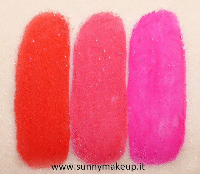 Pupa - Coral Island. Made To Last Lips. 001 Hot Coral, 002 Pink Sunrise, 003 Fuchsia Passion. swatch