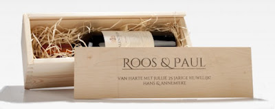 Wijn in gepersonaliseerd kistje