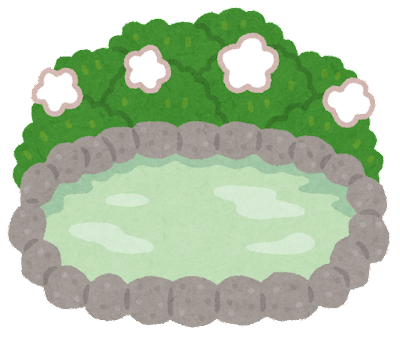誰もいない温泉のイラスト(背景あり)