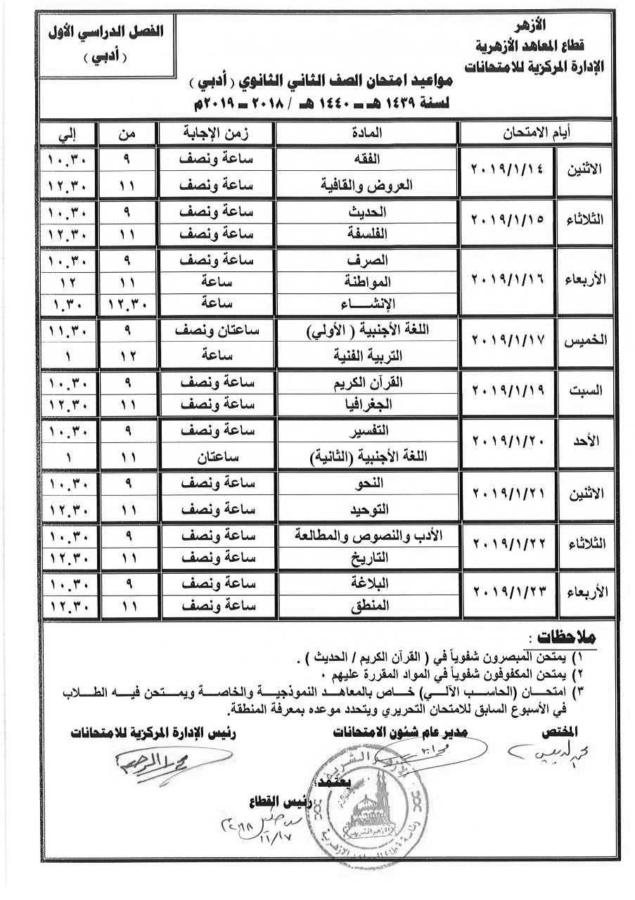 جدول إمتحانات الصف الثاني الثانوي الأزهري أدبي الترم الأول 2019