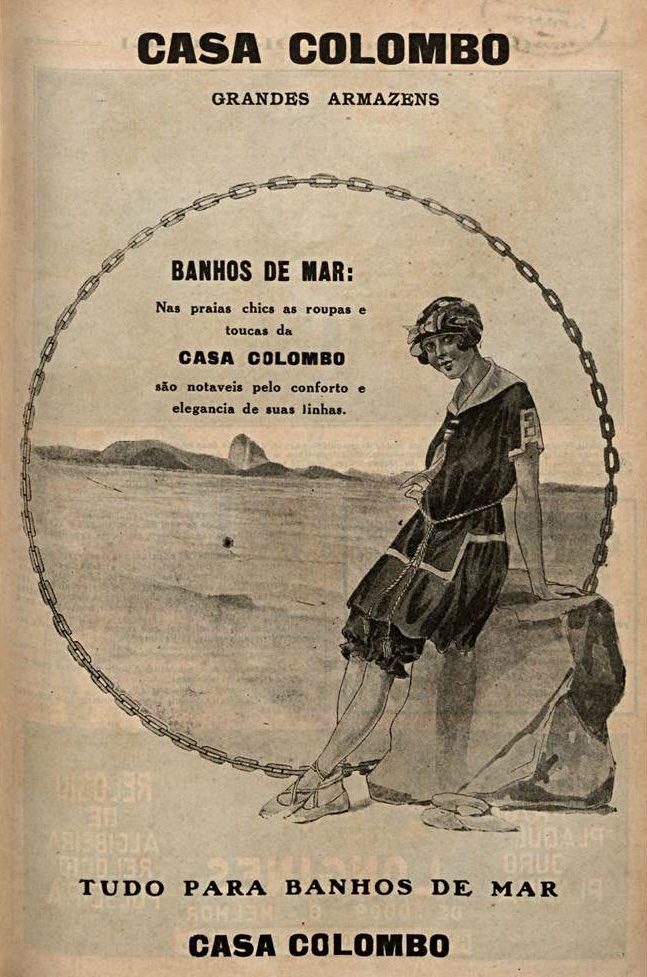 Propaganda antiga da Casa Colombo com coleção de roupas de banho de mar em 1921