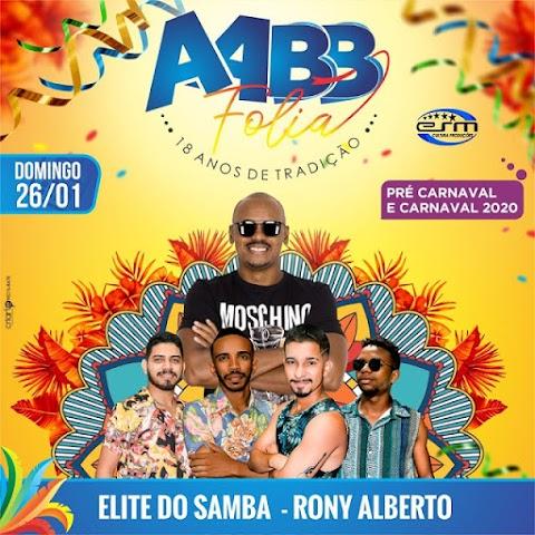 Elite do Samba e Rony Alberto agitarão o AABB Folia neste domingo, dia 26, em Pedreiras