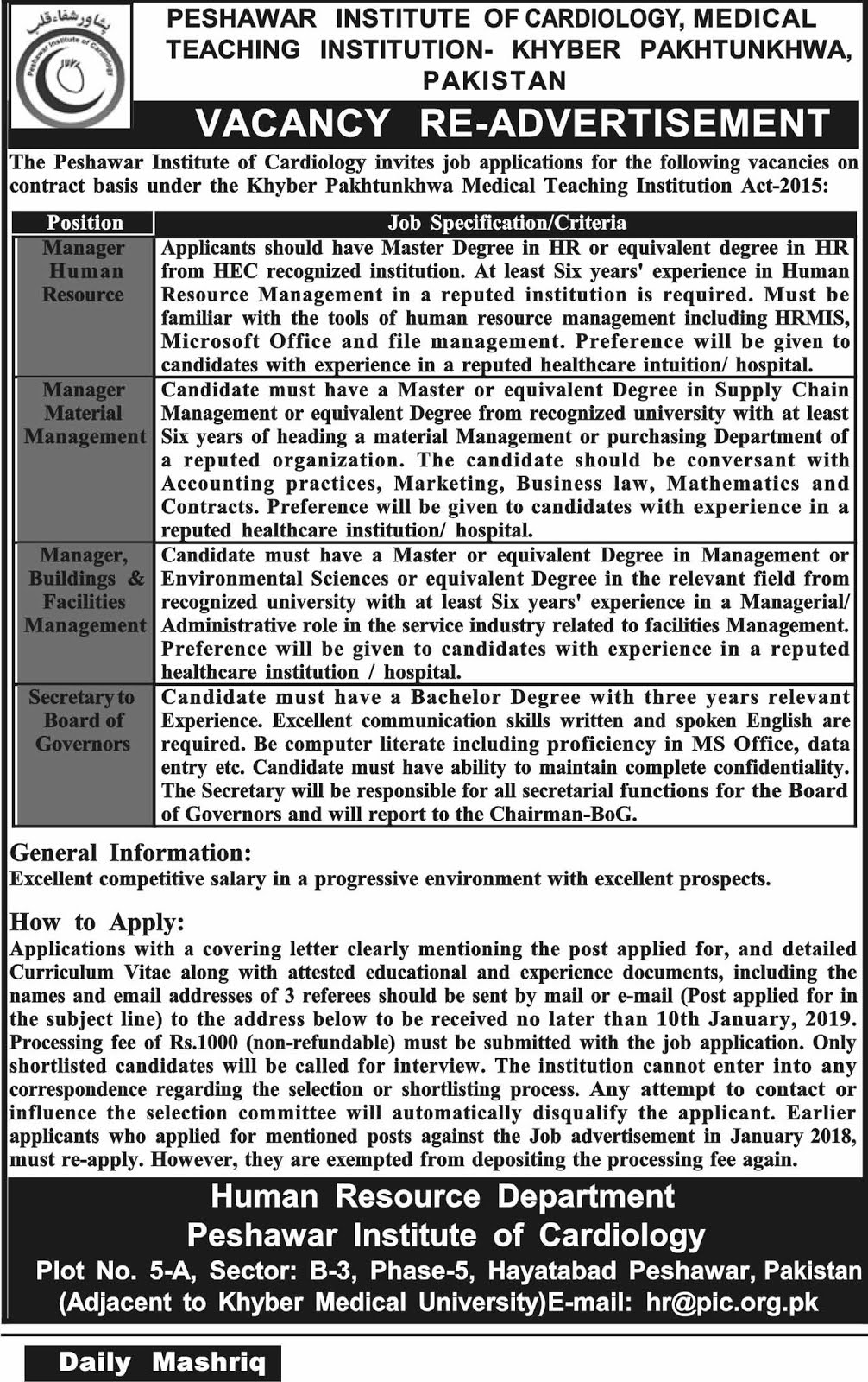 Manager Human Resource jobs in Peshawar Institute Of