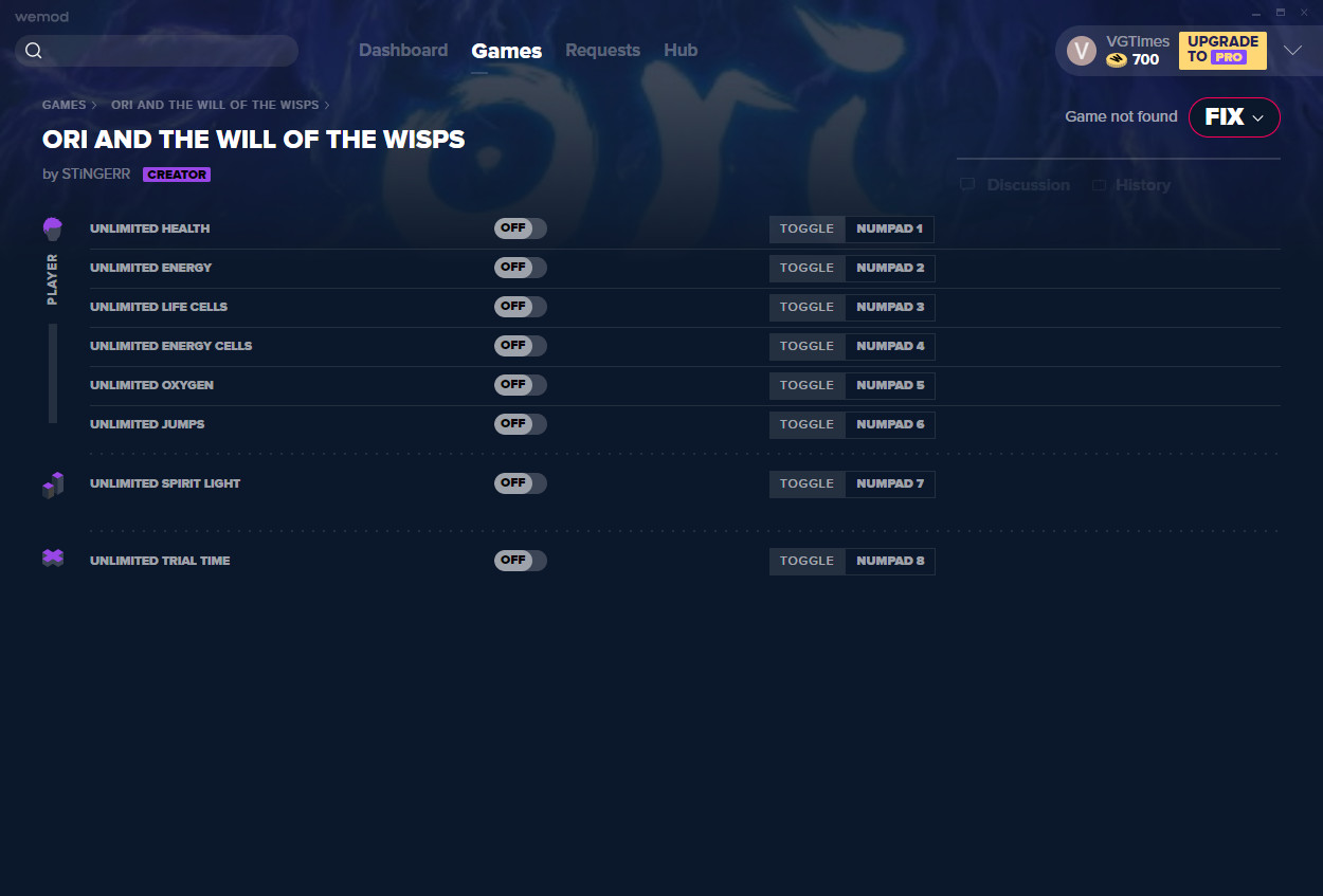 Ori and the Will of the Wisps: Trainer (+8) from 12.01.2021 [WeMod]