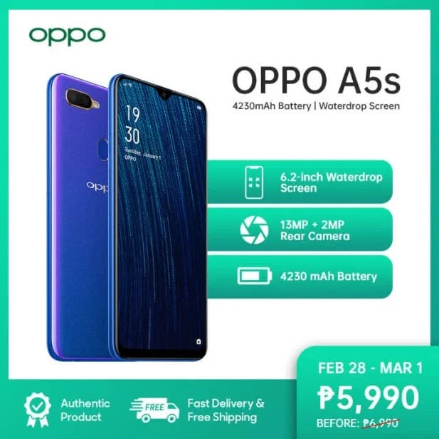 OPPO A5s Now More Affordable at Php5,990
