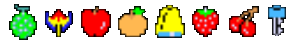 A transparent image of the all of the fruit in the arcade version of Pac-Man (1980).