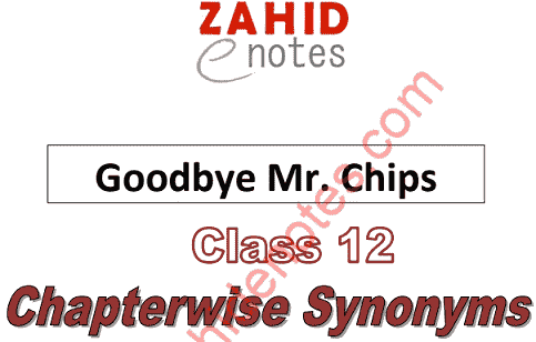 2nd year English Mr. Chips all chapters Synonyms MCQs solved