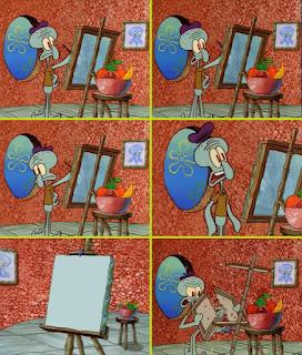 Polosan meme spongebob dan patrick 21 - squidward melukis dan marah-marah