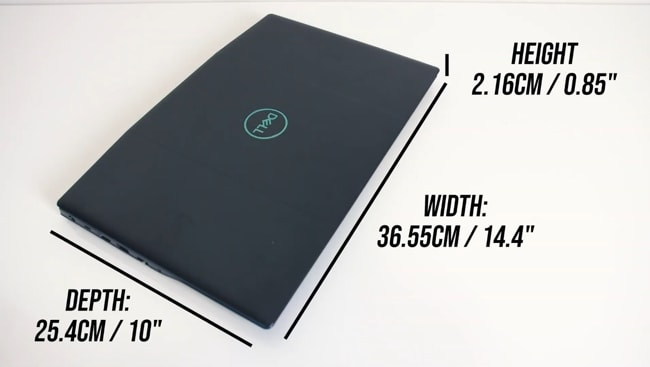 Dimensions of the Dell G3 3500 gaming laptop.