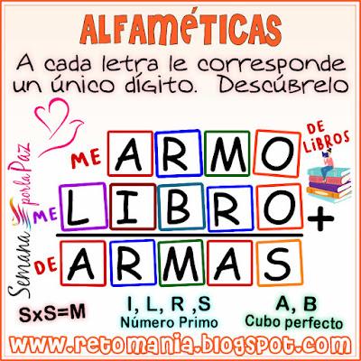 Desafíos matemáticos, Retos matemáticos, Problemas matemáticos, Retos mentales, Retos visuales, Problemas de matemáticas, Criptoaritmética, Criptosuma, Criptograma, Alfamética