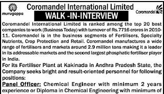 Coromandel International Ltd Job Opening For B.E/ B.Tech Chemical Engineering Position Senior Officer-Production