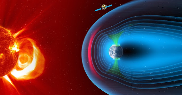 Smile – the Solar wind Magnetosphere Ionosphere Link Explorer – aims to form an accurate picture of solar-terrestrial magnetospheric physics.  From its vantage point, Smile will observe the solar wind interaction with the magnetosphere, gathering simultaneous images and video of the dayside magnetopause (where Earth's magnetosphere meets the solar wind, indicated in pink), the polar cusps (a region in each hemisphere where particles from the solar wind have direct access to Earth's ionosphere, indicated in green), and the auroral oval (the region around each geomagnetic pole where auroras most often occur). The mission will be implemented by ESA's Science Programme and the Chinese National Space Science Centre (NSSC) under the Chinese Academy of Sciences (CAS). Credit: ESA/ATG medialab