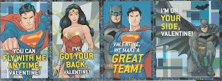 Front of last four Justice League Valentines
