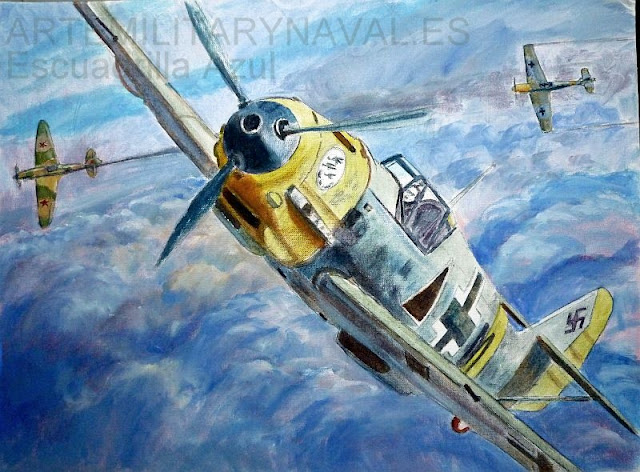 Oleo de un Bf-109E de la Escuadrilla Azul Española Segunda Guerra Mundial