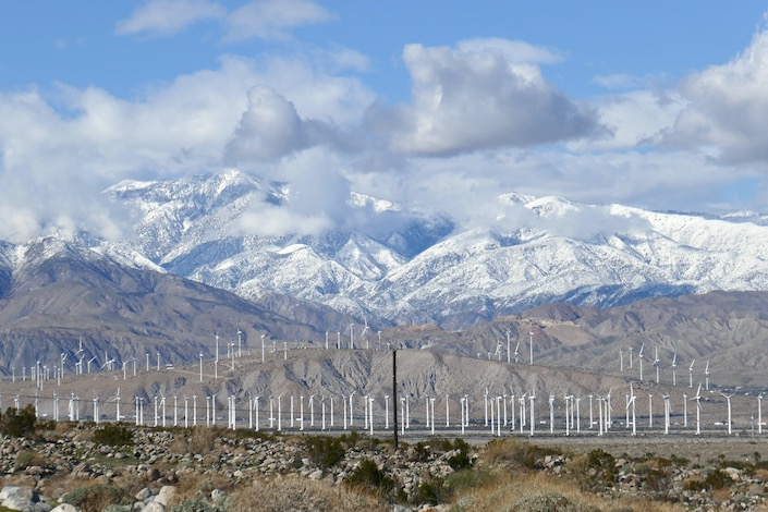 Snowcapped Palm Springs mountains