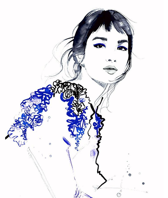 fashion illustration by Jessica Durrant for Dena Cooper's blog, Brushstroke a la Mode