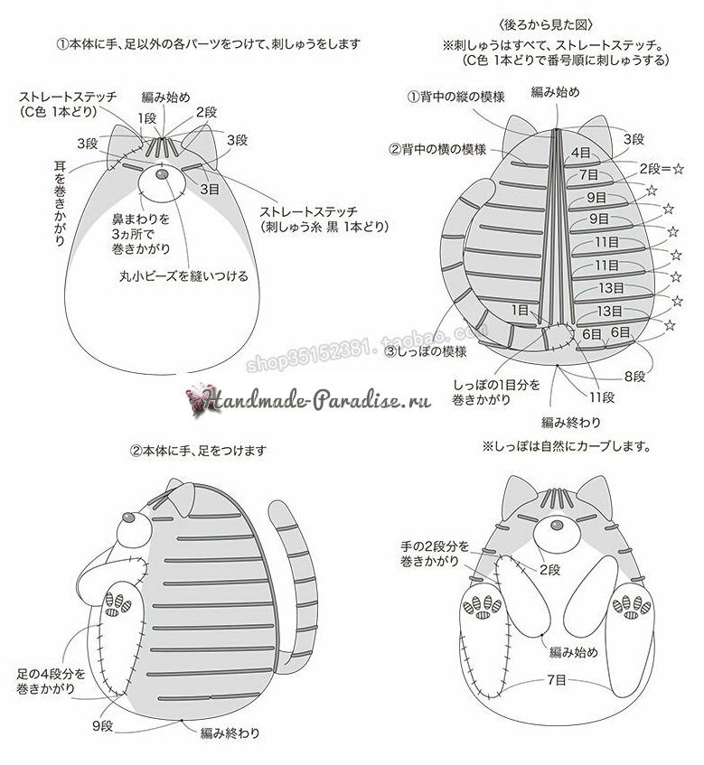 Толстый кот крючком. Амигуруми. Схемы вязания забавной игрушки для малыша (3)