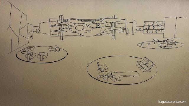 Croqui do Salão Verde da Câmara dos Deputados feito por Oscar Niemeyer