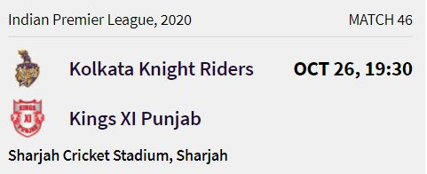 Kolkata Knight Riders match 12 ipl 2020
