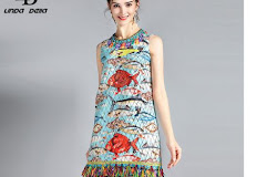 17f6549e208c31 LD LINDA DELLA New Fashion Runway Summer Dress Women'S Sleeveless Charming  Seabed Fish Print Tassel Beading Elegant Dress