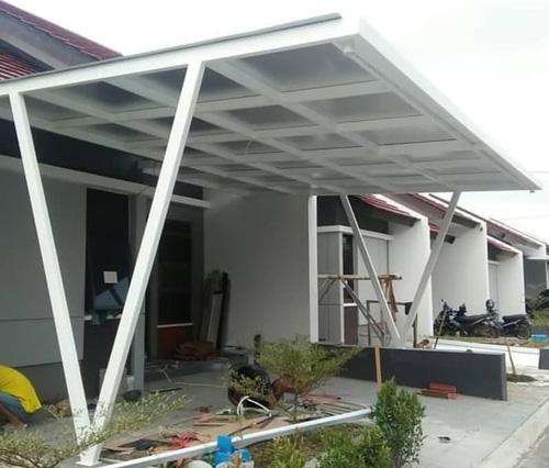 tiang v baja ringan dengan atap seng spandek