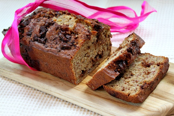 Skinny Chocolate Caramel Banana Bread