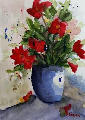 Watercolor - John Keese - Red Flowers in Vase
