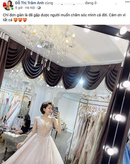 Hot girl Trâm Anh bất ngờ thử váy cưới, chú rể là ai?