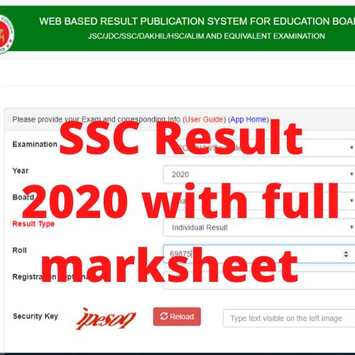 SSC Result 2020 All Education Board Bangladesh