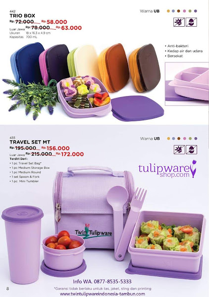 Promo Diskon Tulipware Oktober 2018, Trio Box, Travel Set MT