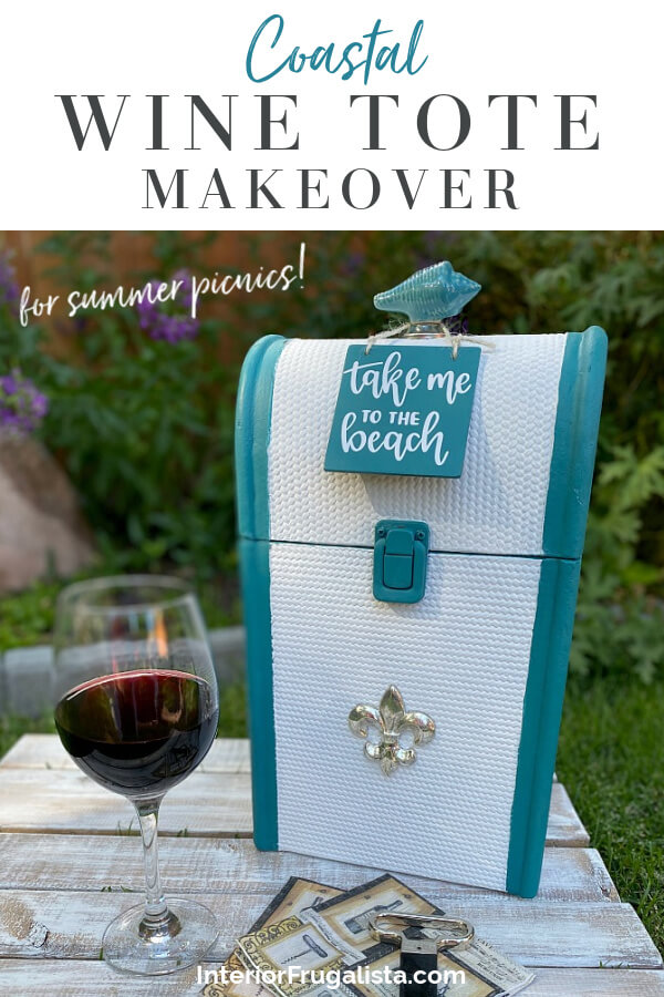 A thrift store Vintage Wood Rattan and a Metal Wine Bottle Carrier get one-of-a-kind makeovers for summer for two budget-friendly hostess gift ideas. #winecarrier #picnicwinetote
