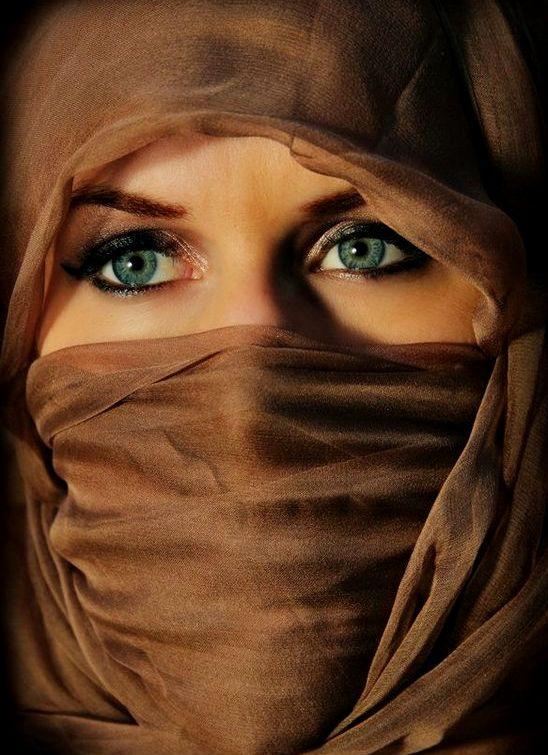 Beautiful Girl Eyes DP in Brown Hijab