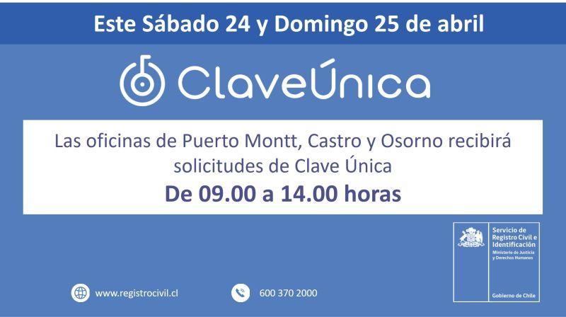 Registro Civil recibirá solicitudes de Clave Única en las oficinas de Puerto Montt, Osorno y Castro