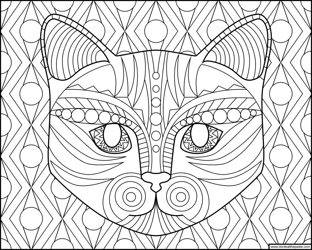 Don't Eat The Paste: Cat Face Coloring Page