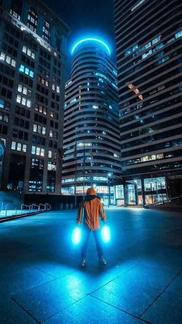 Lonely man, Neon light, City, Night, Buildings