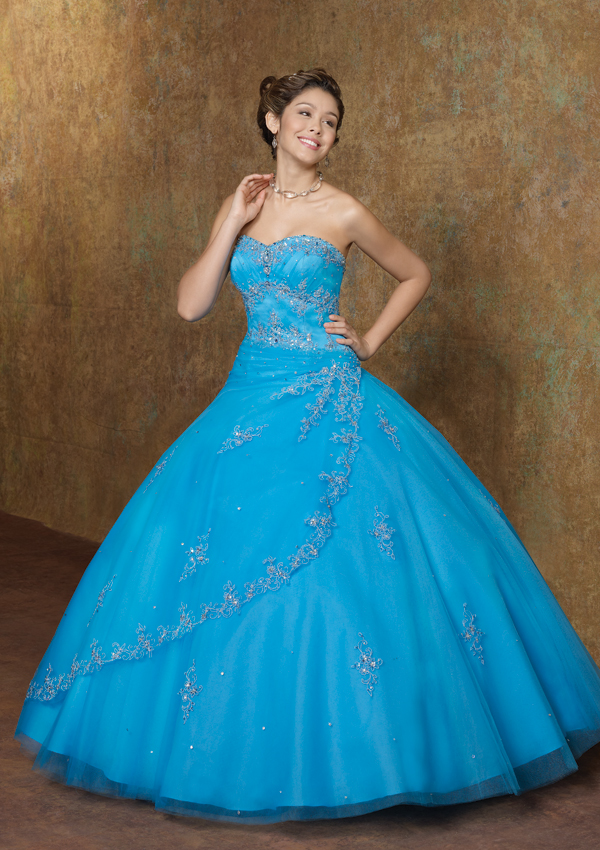 Vestidos quinceaneras azul turquesa