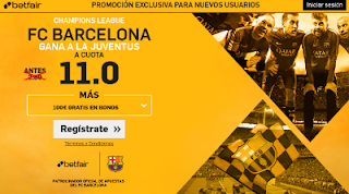 betfair supercuota 11 Barcelona gana Juventus champions 11 abril