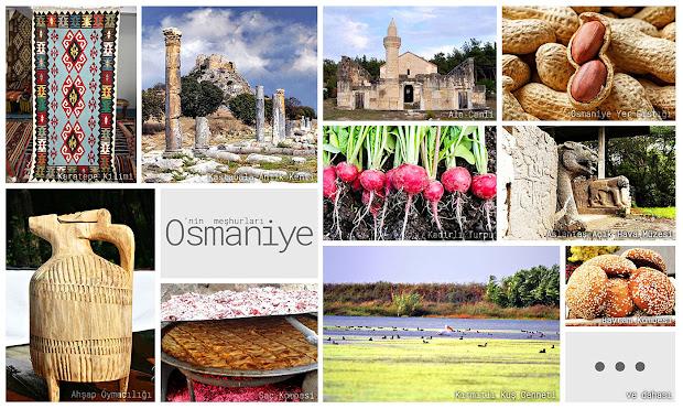 Osmaniye'nin meşhur şeylerini gösteren resimlerden oluşan kolaj