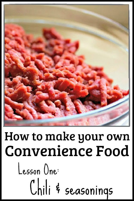 Are you rushed for time? Is it hard to get dinner on the table? This series will show you how to make your own convenience food using healthier ingredients for less money. Part One shows you how to make a fast pot of chili and chili seasoning. #recipe #conveniencefood #frugal