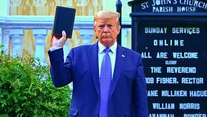 Trump holds the Bible but it's written in the same Bible that God shouldn't be mocked.