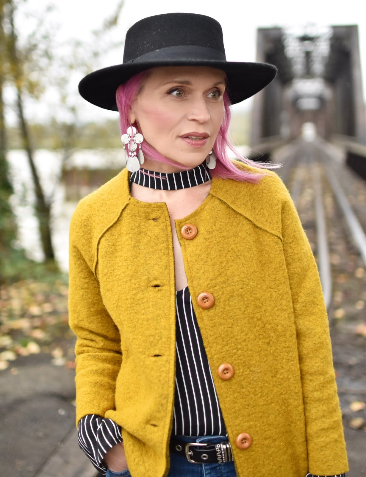 Monika Faulkner outfit inspiration - mustard wool jacket, striped blouse, flat-top felt fedora