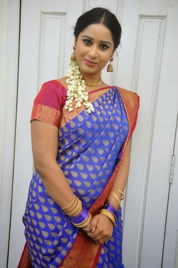 Telugu Serial Actress Sneha Photos In Blue Saree