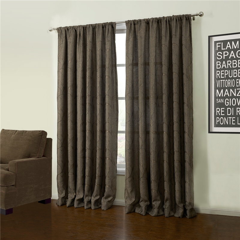 Energy Saving Curtain Custom Modern Jacquard Coffee Botanical Linen Window Treatment - 53 ( One Panel )