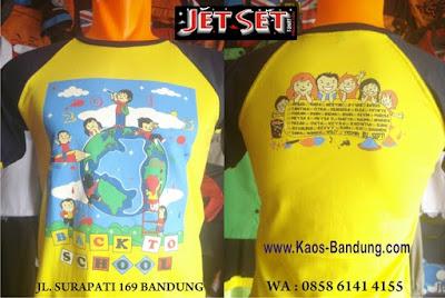 Pusat Pembuatan baju kaos sablon Anak Sekolah Kelas Kampus di Kota Bandung