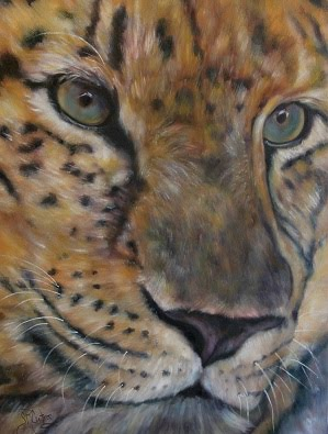 """Nebit"", leopard with beautiful blue eyes, portrait"