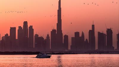 HD Wallpaper Sunset, Birds, City, Buildings, Boat