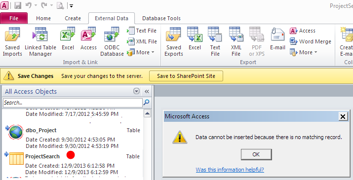 SharePoint Explorations: Data cannot be inserted because