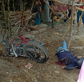 बिहार के समस्तीपुर जिला के ताजपुर प्रखंड में मुर्गिया चौक एनएच 28 पर कार और मोटरसाइकिल की टक्कर में एक की घटना स्थल पर मौत।